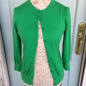 J. Crew Bright Green Button Up Clare Cardigan
